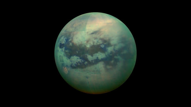 Saturn's largest moon, Titan. This is how the moon would look if its thick, hazy atmosphere was removed. (Image: NASA/Cassini)