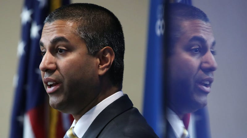 FCC Chairman Ajit Pai speaks during a news conference to unveil Cox Connect2Compete program, at the National Press Club, on October 1, 2018 in Washington, DC.