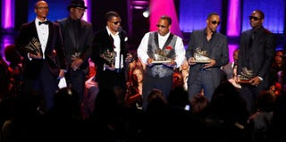 R&B group New Edition accepts a Lifetime Achievement honor at the 2012 Soul Train Music Awards. (BET.com)