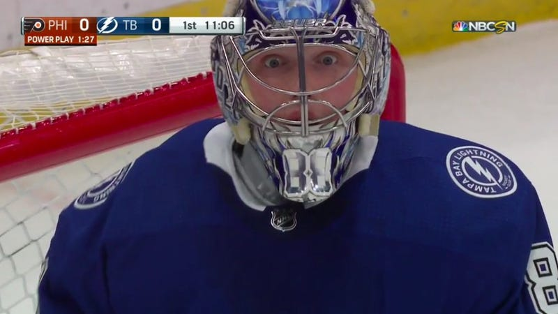 Illustration for article titled Andrei Vasilevskiy Was Bug-Eyed With Disbelief At His Own Save