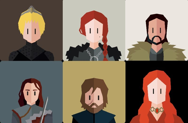 Six of the recognizable characters who appear in Reigns: Game of Thrones.