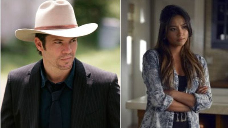 Timothy Olyphant in Justified; Shay Mitchell in Pretty Little Liars