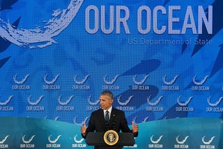 President Barack Obama at an Our Ocean conference in Washington, D.C., on Sept. 15, 2016, where he announced the creation of a new marine reserve to help protect the world's oceans.