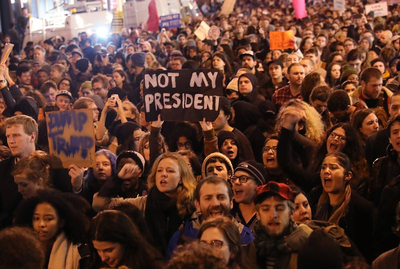 Thousands of anti-Donald Trump protesters shut down Fifth Avenue in front of Trump Tower in New York City on Nov. 9, 2016, in response to the election of Trump as president of the United States. Spencer Platt/Getty Images