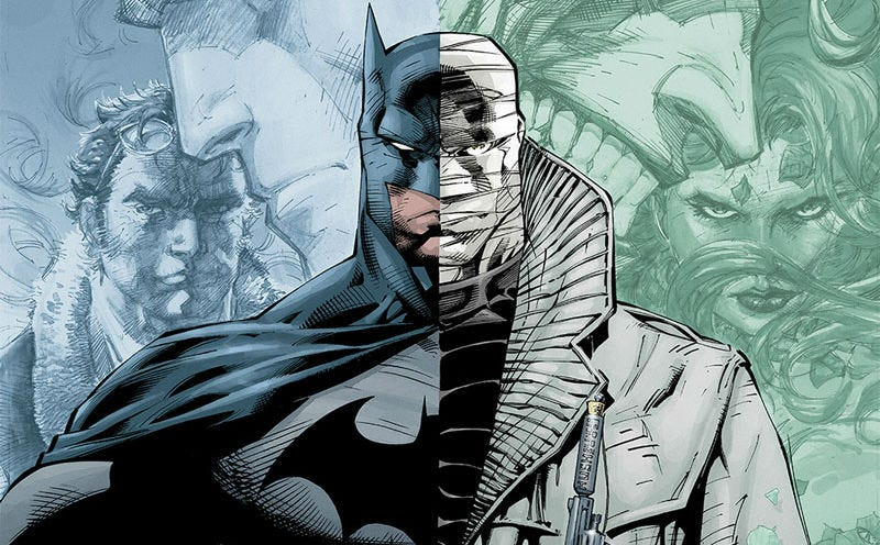 A crop of Jim Lee's poster for Batman: Hush coming to Mondo's booth at San Diego Comic-Con.