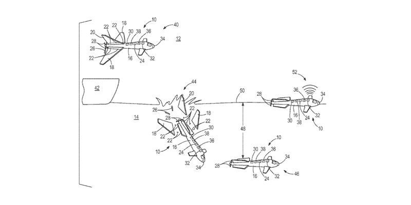 Illustration for article titled Boeing Patented a Drone That Turns Into a Submarine—Just Like in Movies