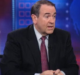 Illustration for article titled Huckabee Hits Daily Show Audience With Crap About Abortion, Slavery