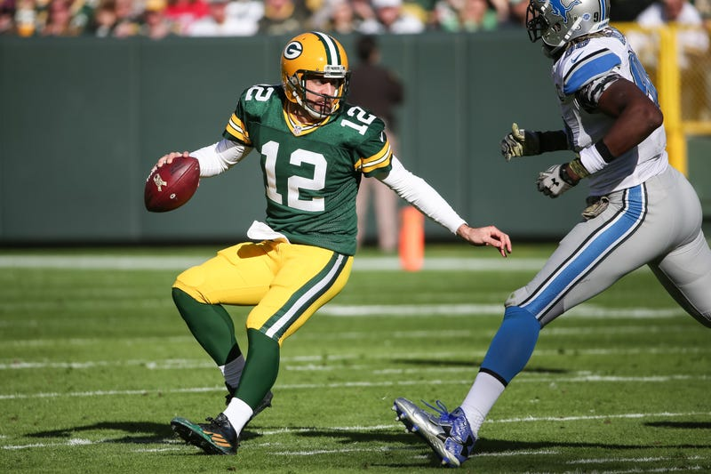 """Illustration for article titled Aaron Rodgers's Throwing Shoulder Is """"Banged Up"""""""