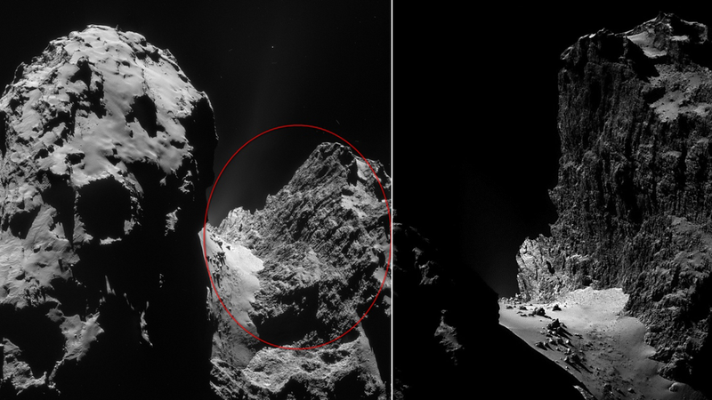 Illustration for article titled An Epic One-Kilometer Cliff On The Surface Of Rosetta's Comet