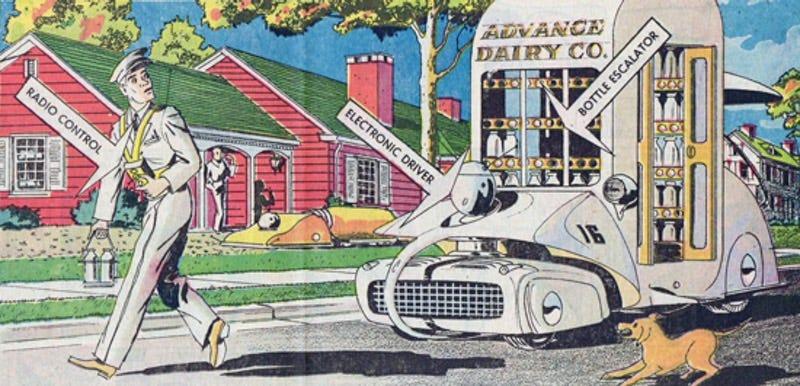 "August 6, 1961 edition of Arthur Radebaugh's Sunday comic strip ""Closer Than We Think"""