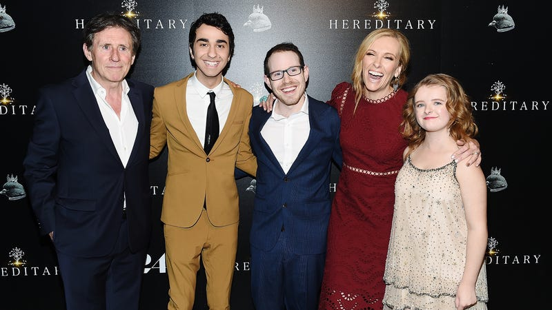 Ari Aster (center) with the cast of Hereditary. Why are they smiling.