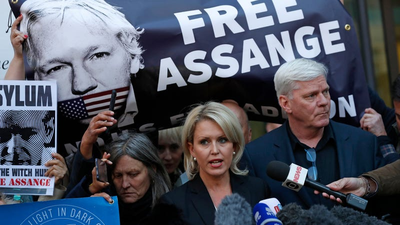 Kristinn Hrafnsson, editor of WikiLeaks, and barrister Jennifer Robinson speak to the media outside Westminster magistrates court where WikiLeaks founder Julian Assange was appearing in London, Thursday, April 11, 2019.