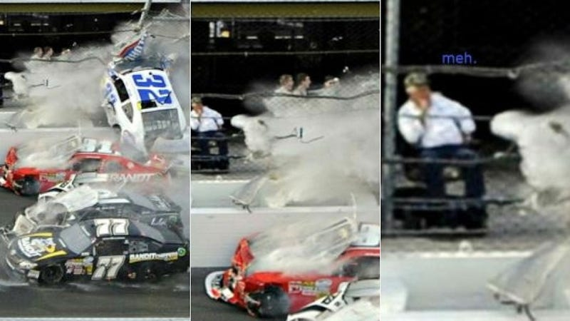 Illustration for article titled NASCAR Fan Has Absolutely No Reaction To Insane Daytona Crash
