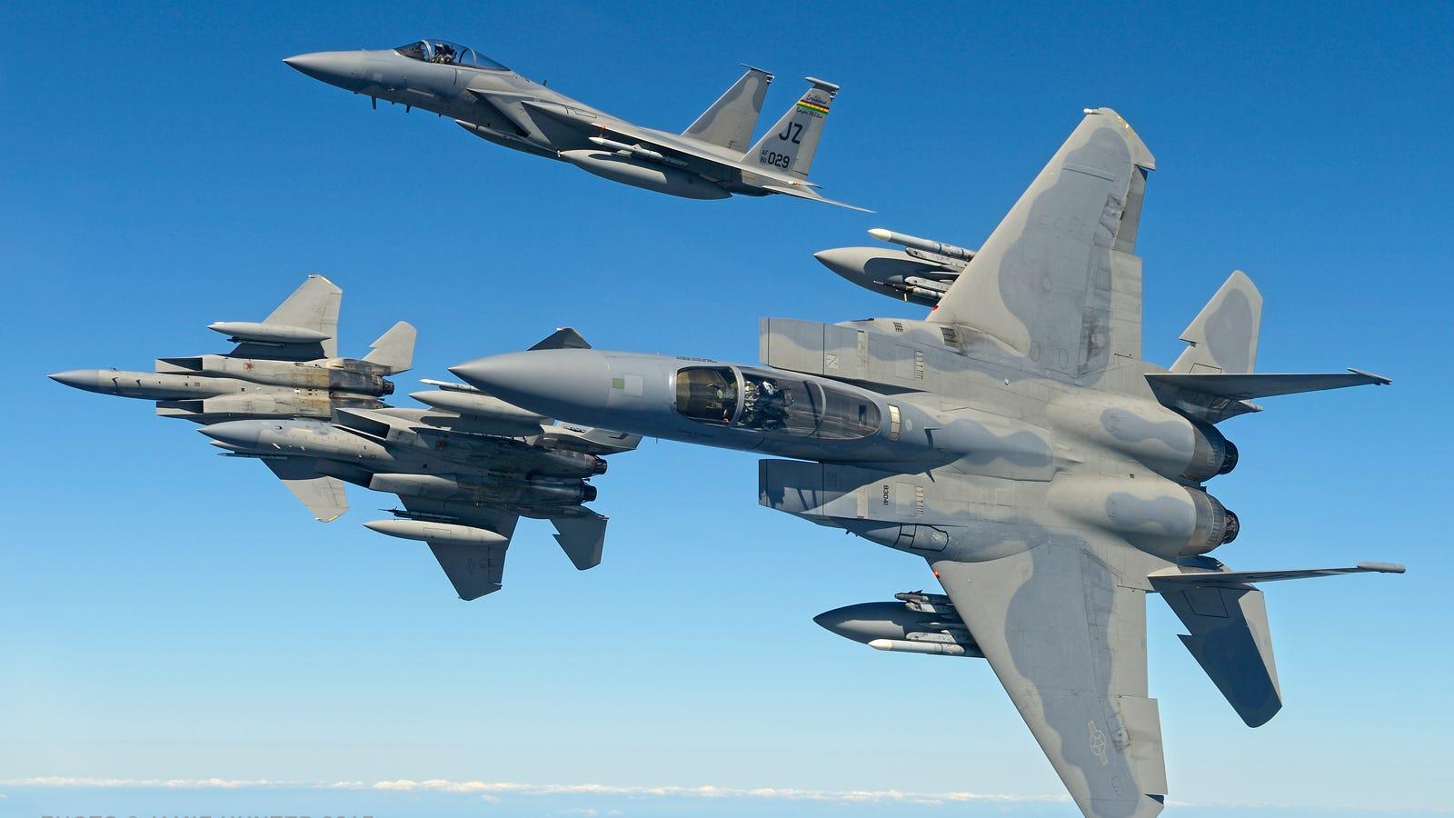 These Air-To-Air Shots Of The Bayou Militia's F-15 Eagles