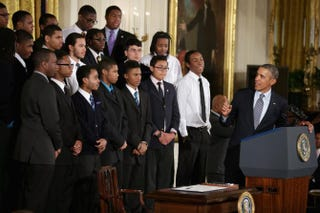 President Barack Obama delivers remarks about his My Brother's Keeper initiative with students from the Chicago Youth Guidance program Becoming a Man in the East Room of the White House, Feb. 27, 2014.Chip Somodevilla/Getty Images