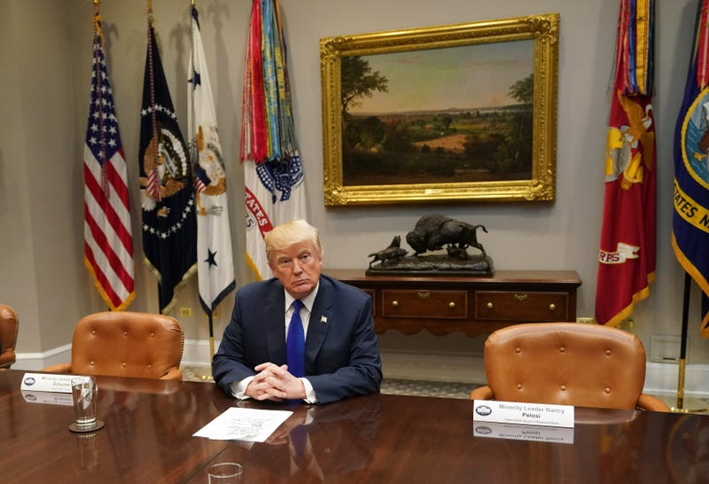 President Donald Trump speaks to the media during a meeting with congressional leadership in the Roosevelt Room at the White House in Washington, D.C., on Nov. 28, 2017. (Kevin Dietsch-Pool/Getty Images)