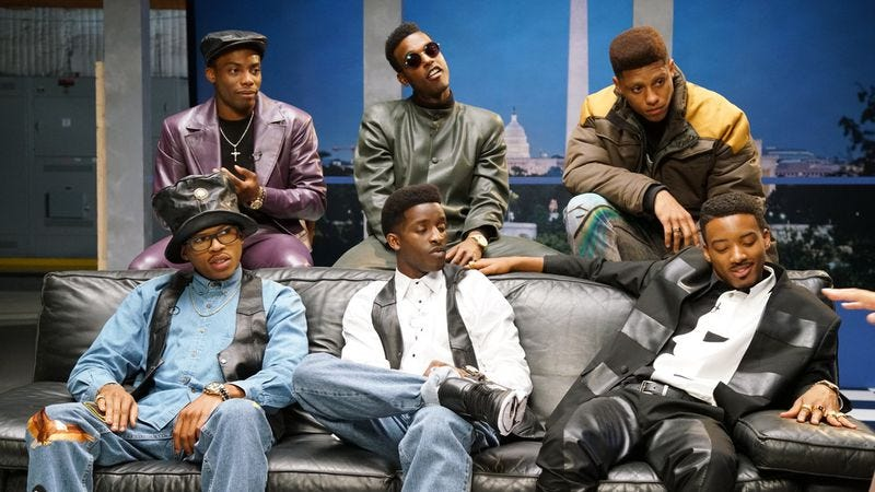 Bryshere Y. Gray, Elijah Kelley, Keith Powers, Algee Smith, Luke James, and Woody McClain in The New Edition Story (Photo: BET/Viacom)