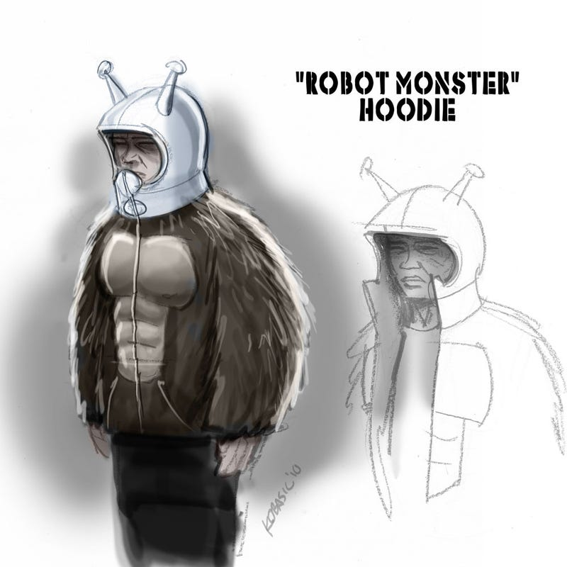 """Illustration for article titled Why can't we buy this """"Robot Monster"""" hoodie for real?"""