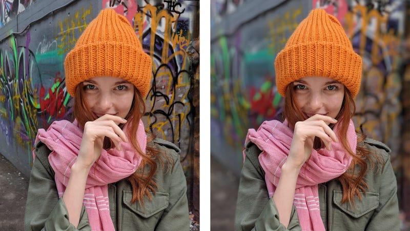La misma imagen HDR+ tomada con la cámara de un Pixel 2. A la derecha, en modo retrato. Imagen: Matt Jones