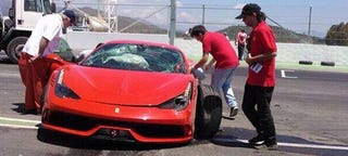 Illustration for article titled At Least This Ferrari 458 Speciale Was Destroyed On Track