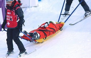 """Illustration for article titled Skier Shreds Knee In Practice, Asks Dad, """"Am I Still An Olympian?"""""""