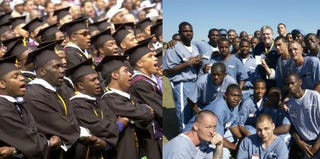Students at a Morehouse College commencement (Getty); prisoners at the Avon Park Correctional Facility (Getty)