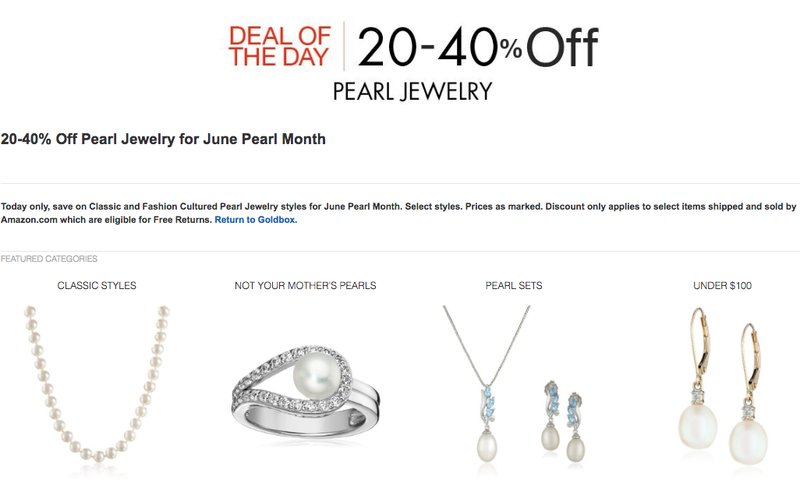 Pearl Jewelry, 20-40% off on Amazon
