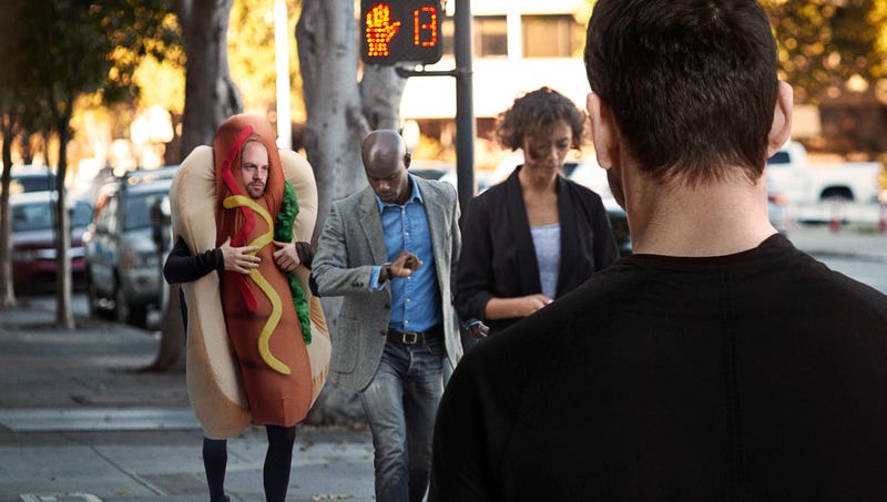 Illustration for article titled 'It's Just A Costume, It's Just A Costume,' Man Nervously Assures Himself As Giant Hot Dog Starts Walking Toward Him
