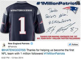 The New England Patriots' offensive tweetTwitter