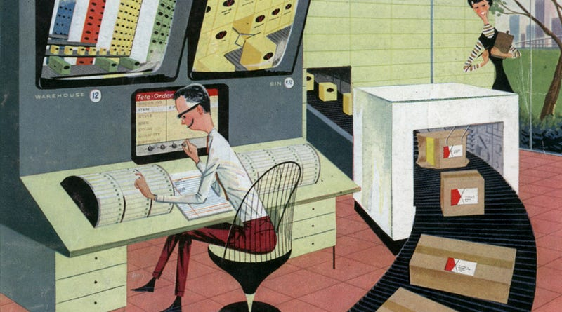 Illustration for article titled The Futuristic Automated Warehouse of 1956 Was All Smiles