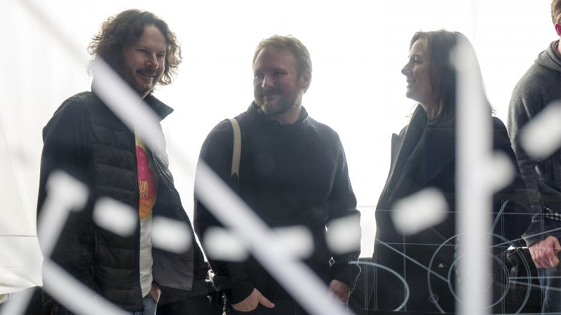 Producer Ram Bergman, Rian Johnson, and Lucasfilm president Kathleen Kennedy on the set of Star Wars: The Last Jedi.