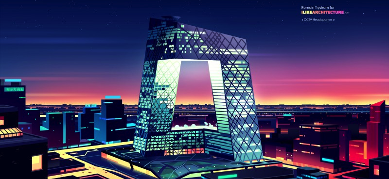 Illustration for article titled 8 of the World's Coolest Skyscrapers Rendered Like 1980s Futurist Art