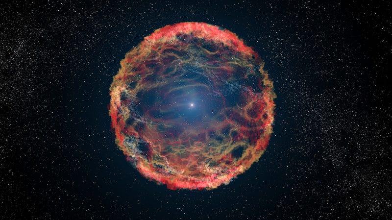 Ilustración del remanente estelar que queda tras la supernova en iPTF14hls. Imagen: NASA, ESA, AND G. BACON (STSCI)