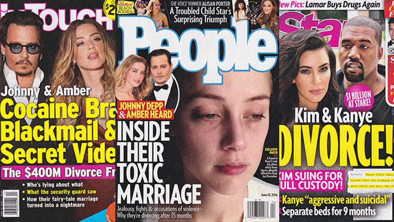 Illustration for article titled This Week In Tabloids:PeopleHas Photos of 'Injuries Allegedly Caused By Johnny Depp' Last Year