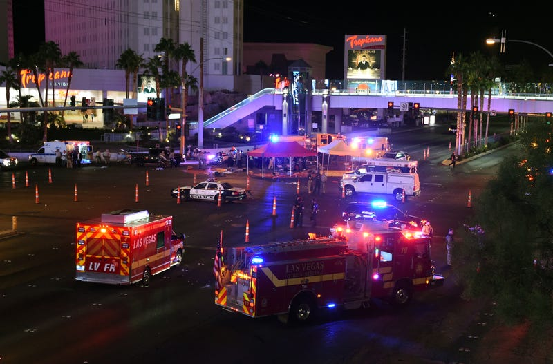 Police and rescue personnel gather at the intersection of Las Vegas Boulevard and Tropicana Avenue after a reported mass shooting at a country music festival on Oct. 2, 2017, in Las Vegas. (Ethan Miller/Getty Images)
