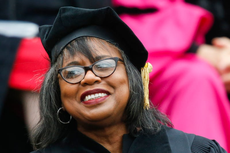 Law professor Anita Hill attends the commencement ceremony at Wesleyan University on May 27, 2018 in Middletown, Connecticut.
