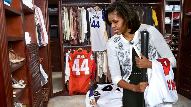 Illustration for article titled Michelle Obama Throws Out A Bunch Of Barack's Old Number 44 Jerseys