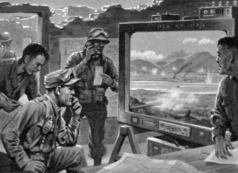 Illustration for article titled From Football Field to Battlefield: A Futuristic 1950s Vision of TV