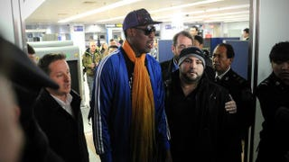 Former U.S. basketball player Dennis Rodman arrives at Beijing International Airport from North Korea on Jan. 13, 2014.WANG ZHAO/AFP/Getty Images