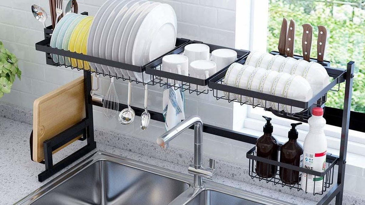 This Over-The-Sink Dish Rack Is Perfect for Tiny Kitchens and It's Cheaper Than Ever