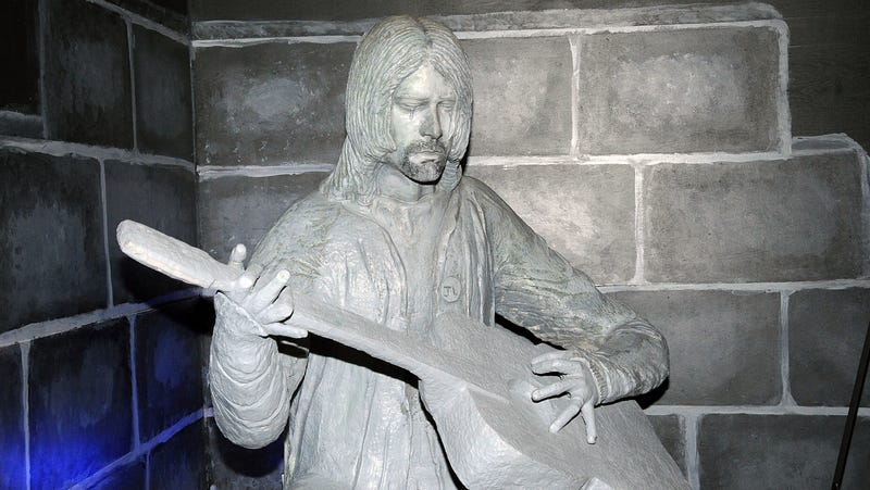 A statue of Kurt Cobain, on display at the Aberdeen Museum Of History in 2014. It's not clear if the statue survived the fire, but Jesus Christ do we hope it did.