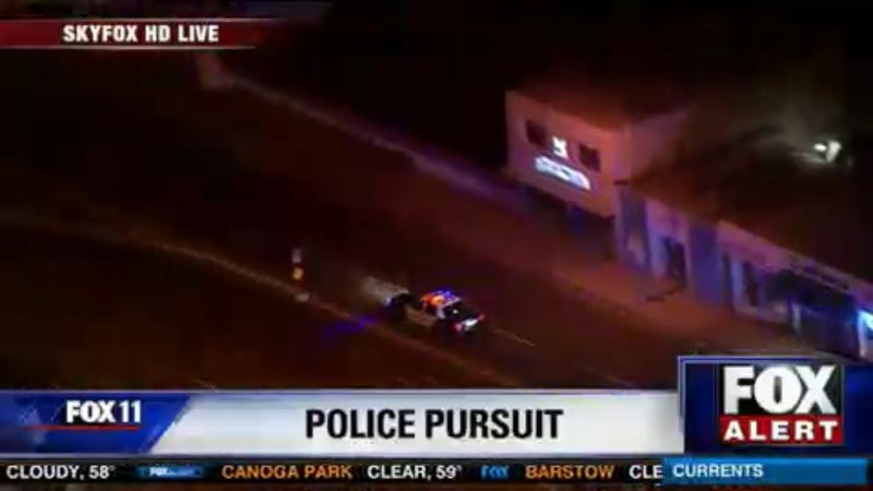 Illustration for article titled STOLEN POLICE CAR CHASE LIVE NOW!! - UPDATE: suspect killed