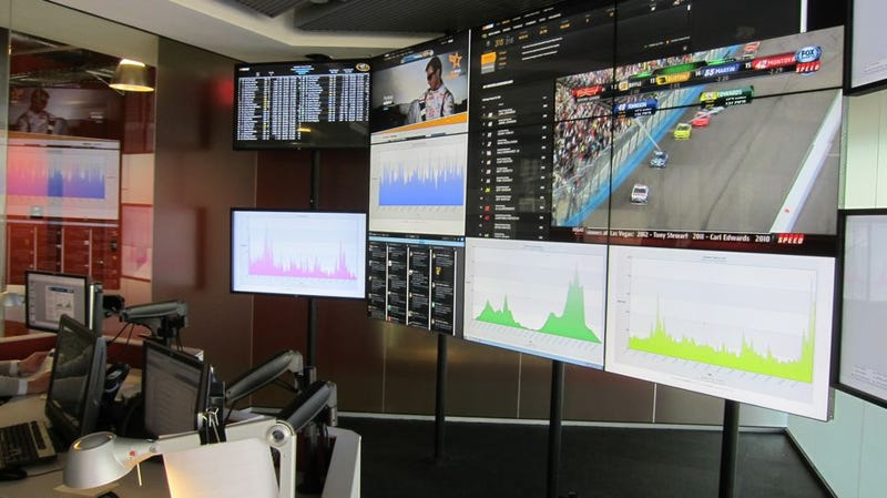 Illustration for article titled Check out NASCAR HQ's Swanky Social Media Control Room (and Then Meet Us In Houston Tonight for Cars, Beers, and Gizmodo TV!)