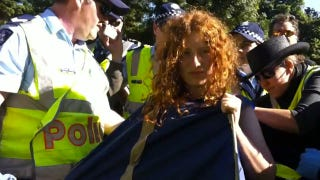 Illustration for article titled Occupy Melbourne 'Tent Monster' Forcibly Stripped To Her Underwear By Police