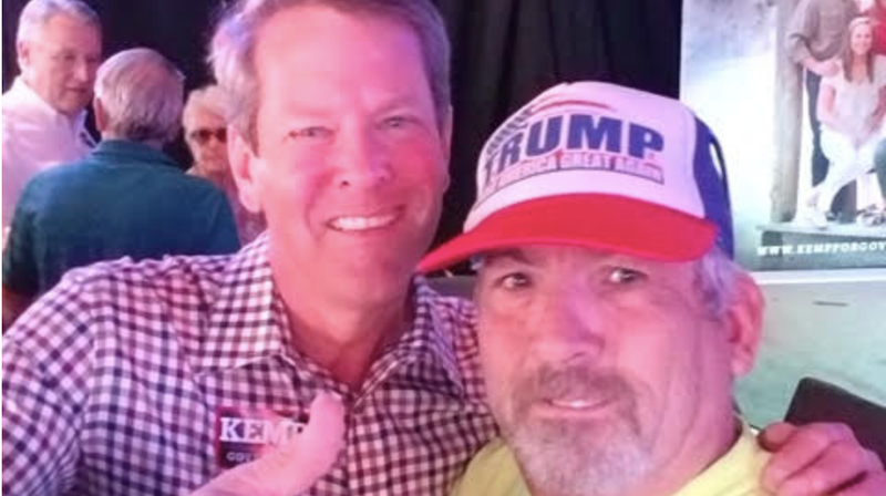 Georgia governor candidate Brian Kemp and James J. Stachowiak, a man who has in the past has threatened Kemp's political rival, and fellow governor candidate, Stacey Abrams', campaign.