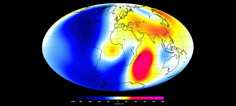 Illustration for article titled Look How Much the Earth's Magnetic Field Is Changing