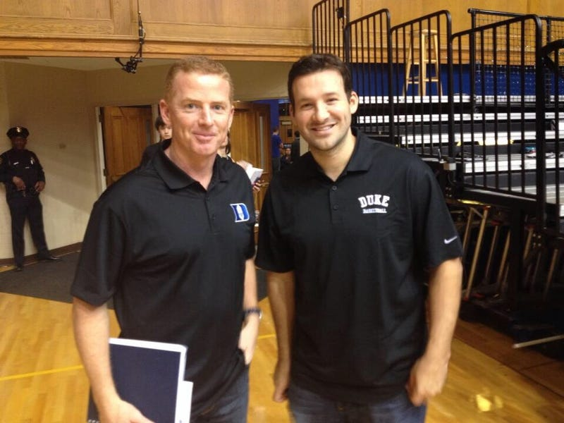 Illustration for article titled Tony Romo And Jason Garrett Are Duke Fans. Of Course They Are.