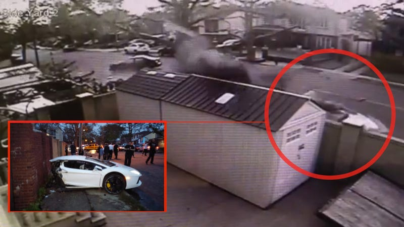 Illustration for article titled Watch A Boring Sedan Rip A $400K Lamborghini Aventador In Half