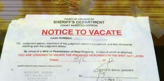 An eviction notice (Robyn Beck/Getty Images)