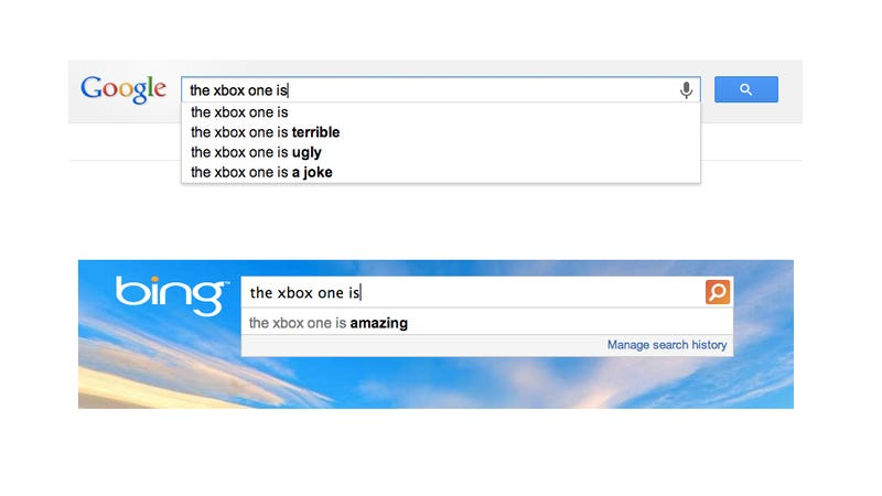 Illustration for article titled The Hilarious Difference Between Google and Bing in One Picture